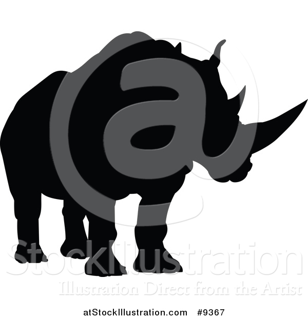 Vector Illustration of a Black Silhouetted Rhinoceros