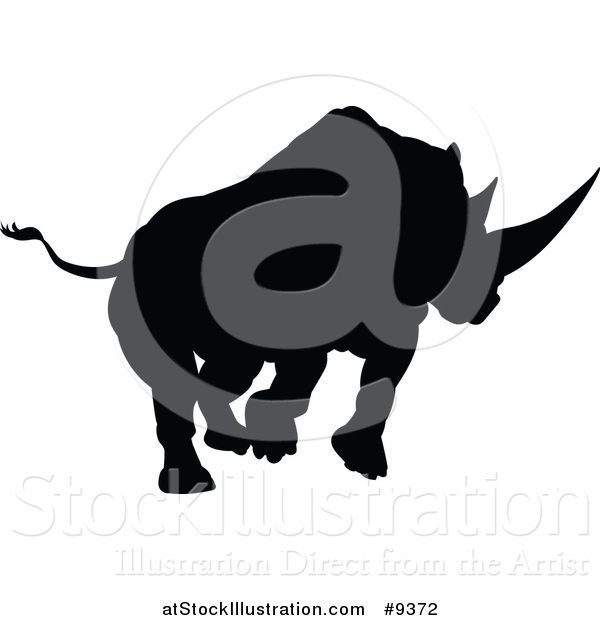 Vector Illustration of a Black Silhouetted Rhinoceros Charging
