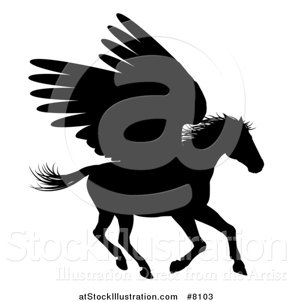 Vector Illustration of a Black Silhouetted Running Winged Pegasus Horse