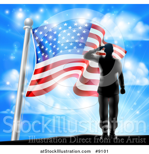 Vector Illustration of a Black Silhouetted Solder Saluting on a Hill Top over an American Flag and Sky