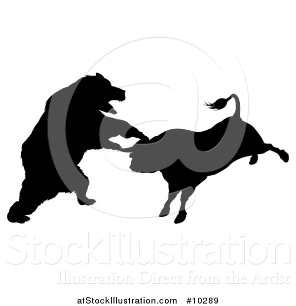 Vector Illustration of a Black Silhouetted Stock Market Bull and Bear Fighting