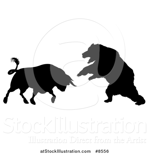 Vector Illustration of a Black Silhouetted Stock Market Bull Fighting a Bear