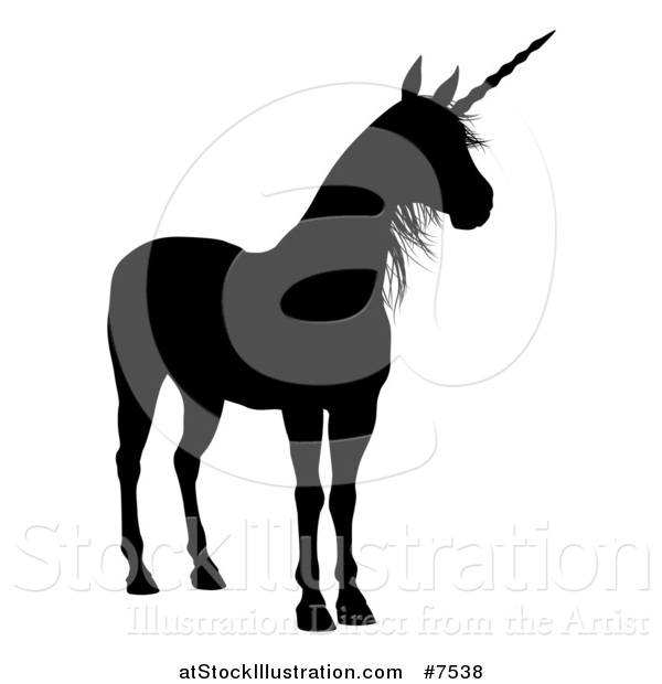 Vector Illustration of a Black Silhouetted Unicorn
