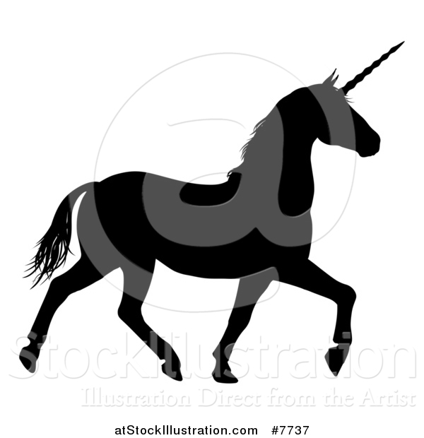 Vector Illustration of a Black Silhouetted Unicorn Horse Trotting