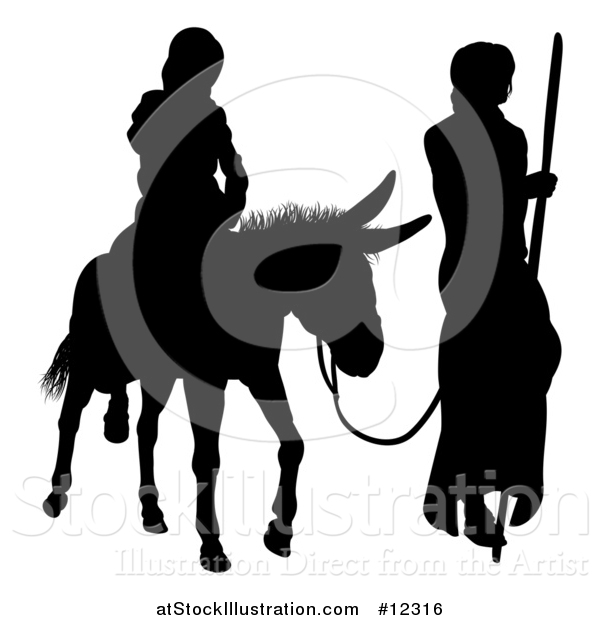 Vector Illustration of a Black Silhouetted Virgin Mary on a Donkey and Joseph