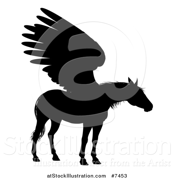 Vector Illustration of a Black Silhouetted Winged Pegasus Horse