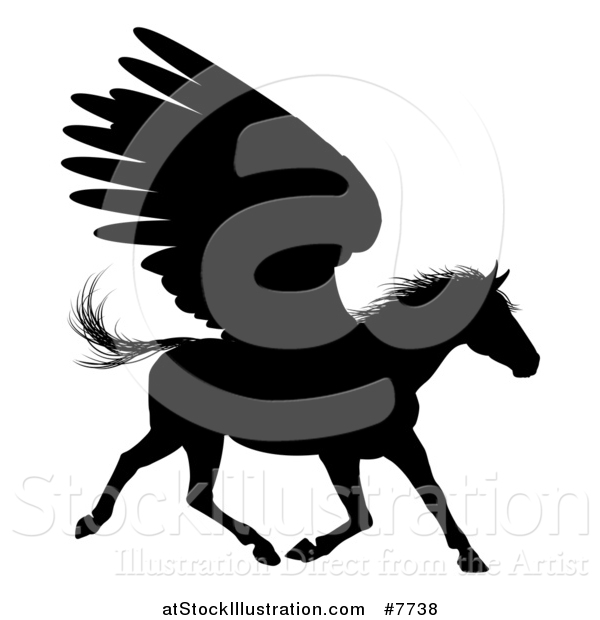 Vector Illustration of a Black Silhouetted Winged Pegasus Horse Running