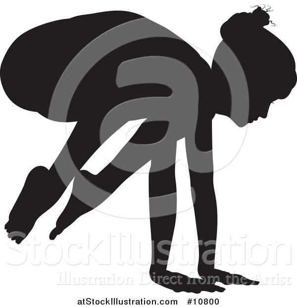 Vector Illustration of a Black Silhouetted Woman in a Yoga Pose
