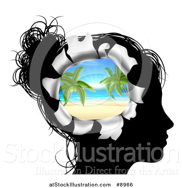 Vector Illustration of a Black Silhouetted Woman's Head Thinking of Vacation with a Hole Showing a Tropical Beach