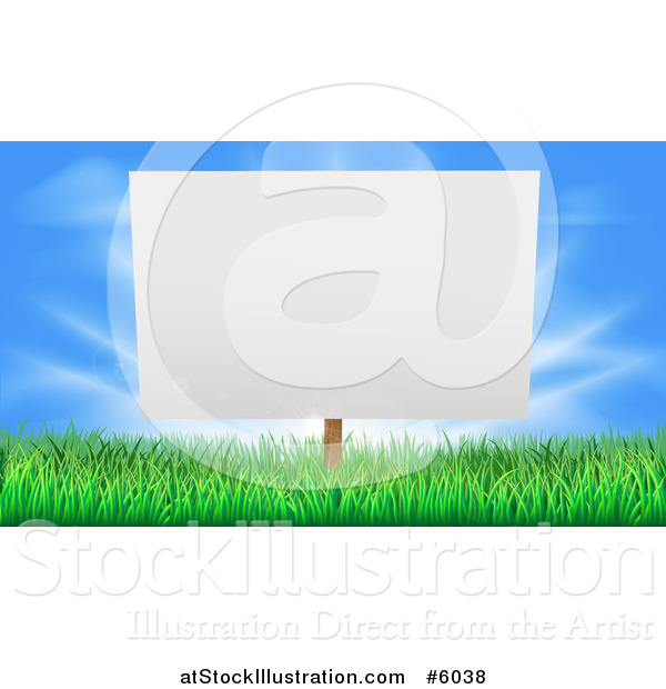 Vector Illustration of a Blank Billboard or Sign in Grass Against Blue Sky