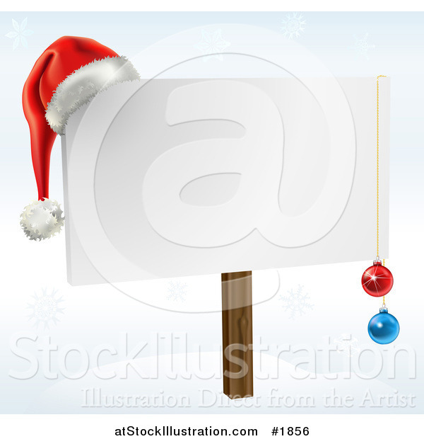 Vector Illustration of a Blank Christmas Sign with Ornaments and a Santa Hat