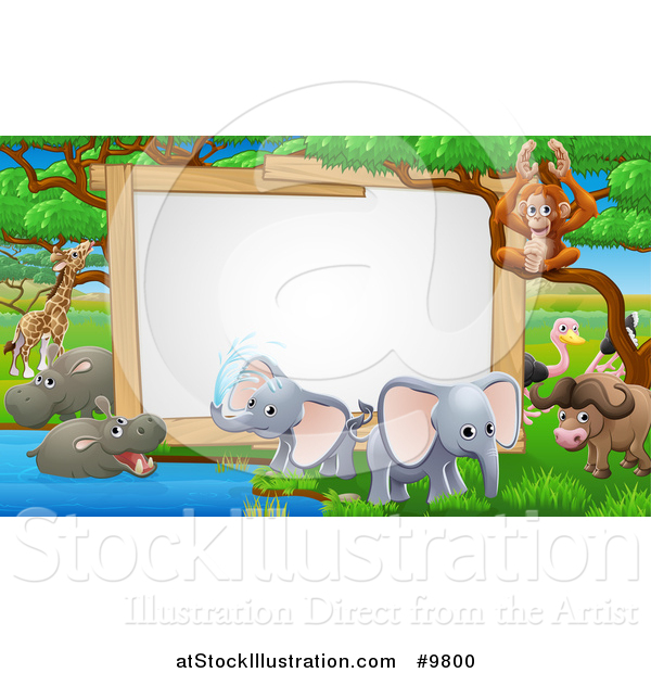 Vector Illustration of a Blank Sign at a Watering Hole, Surrounded by African Safari Animals