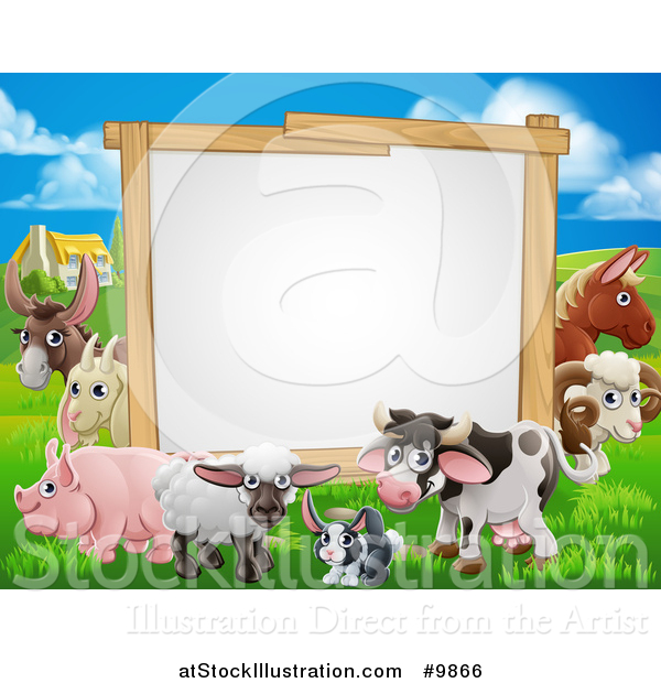 Vector Illustration of a Blank Sign Board Surrounded by Farm Animals, with a House in the Background