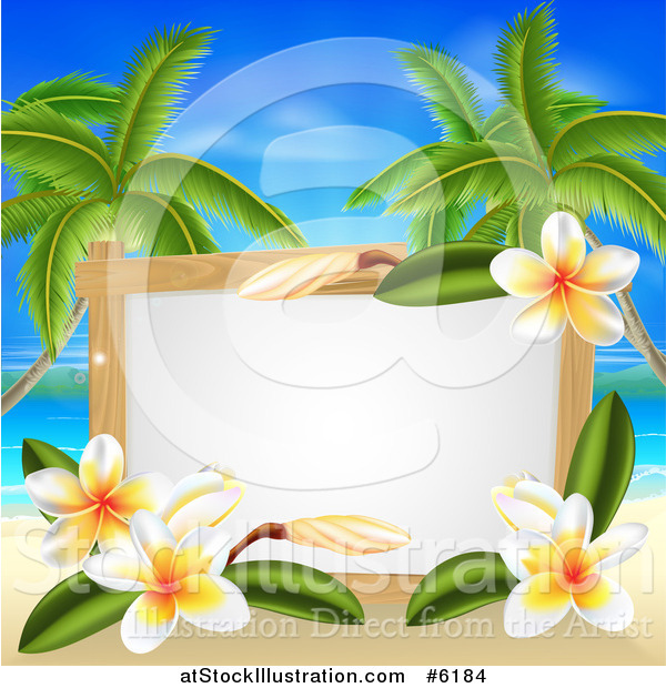 Vector Illustration of a Blank Sign with Plumeria Flowers on a Tropical Beach with Palm Trees