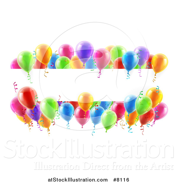 Vector Illustration of a Blank White Banner Signs Bordered in 3d Colorful Party Balloons and Confetti