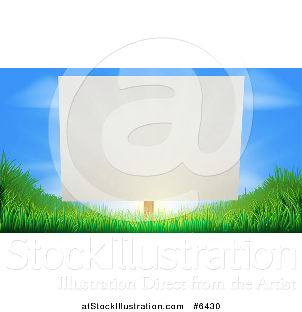 Vector Illustration of a Blank White Sign Posted Against a Sunrise in a Blue Sky on Grassy Green Hills
