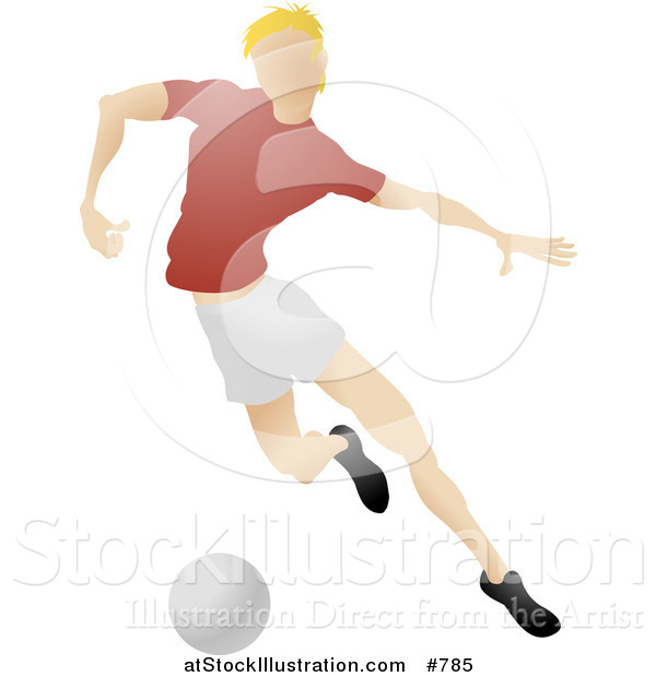 Vector Illustration of a Blond Male Soccer Player Kicking a Ball During a Game