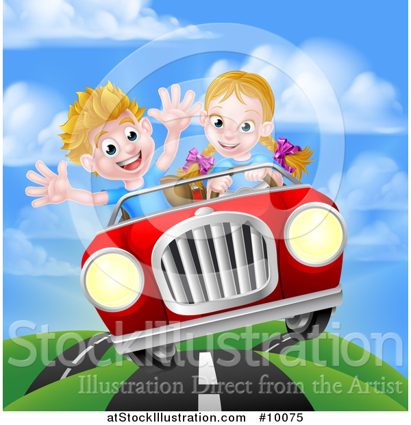 Vector Illustration of a Blond White Girl Driving a Boy in a Red Convertible Car, Catching Air on a Rural Road