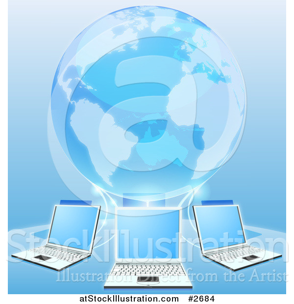 Vector Illustration of a Blue 3d Globe Connected to a Network of Laptop Computers