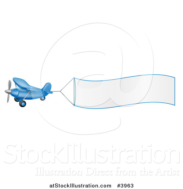 Vector Illustration of a Blue Airplane with a Trailing Blank Banner