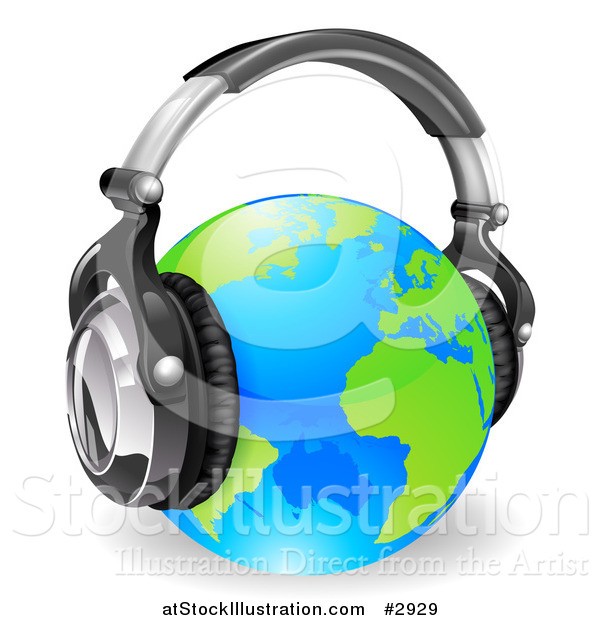 Vector Illustration of a Blue and Green Globe Wearing 3d Noise Canceling Music Headphones