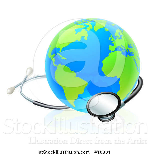 Vector Illustration of a Blue and Green World Earth Globe with a Stethoscope