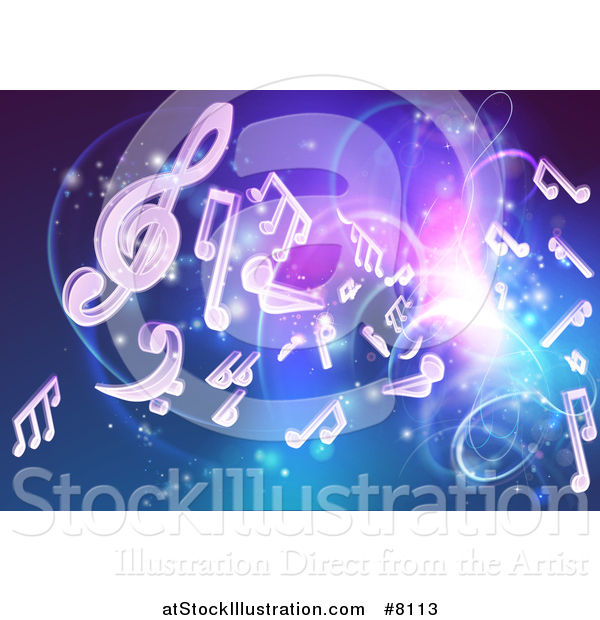 Vector Illustration of a Blue and Purple Background of Bright Neon Lights, Flares and Floating Music Notes