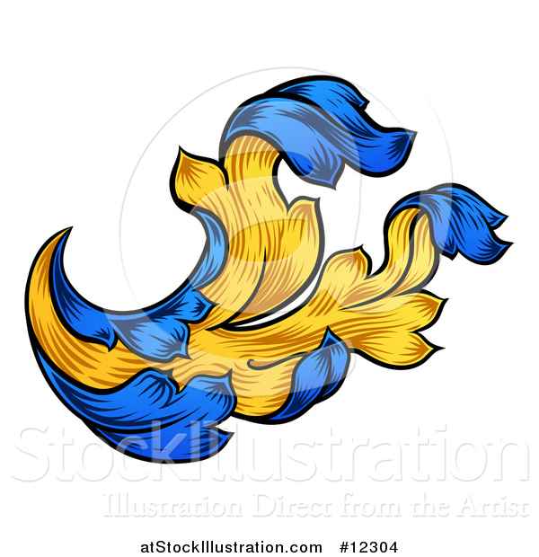 Vector Illustration of a Blue and Yellow Vintage Heraldry Floral Design Element