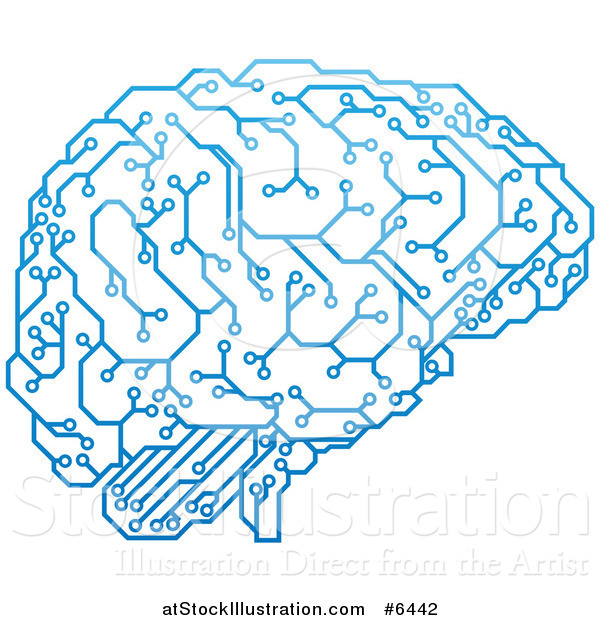 Vector Illustration of a Blue Artificial Intelligence Circuit Board ...