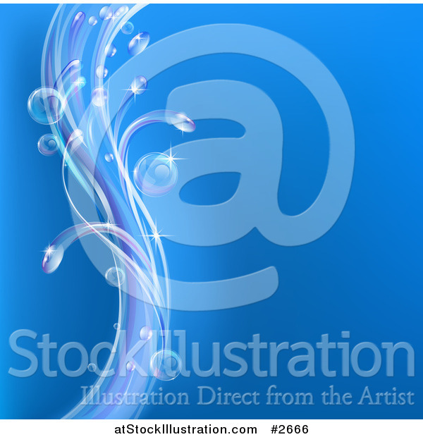 Vector Illustration of a Blue Background with Swooshes of Bubbles and Waves