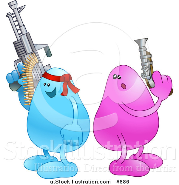 Vector Illustration of a Blue Bean Character Wearing a Red Headband and Holding a Big Machine Gun While a Disadvantaged Pink Bean Character Holds a Puny Little Gun