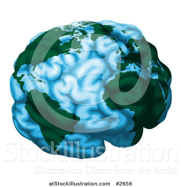 Vector Illustration of a Blue Brain Globe with Green Continents