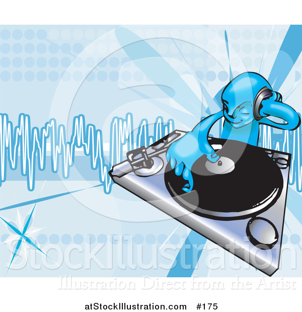 Vector Illustration of a Blue DJ Mixing Records on a Turntable