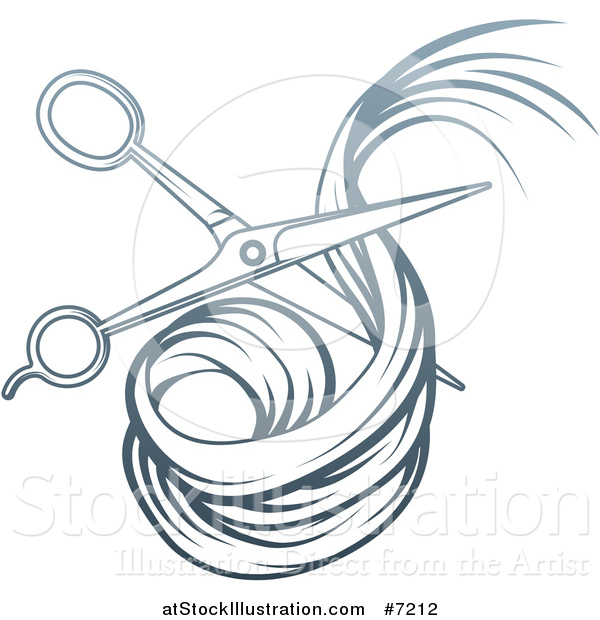 Vector Illustration of a Blue Gradient Scissors Cutting Hair