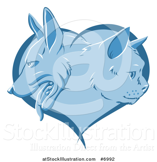 Vector Illustration of a Blue Heart with Cat and Dog Faces in Profile