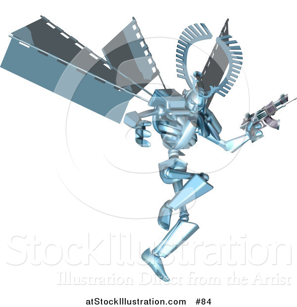 Vector Illustration of a Blue Manga Style Metal Robot Jumping and Holding a Laser Gun