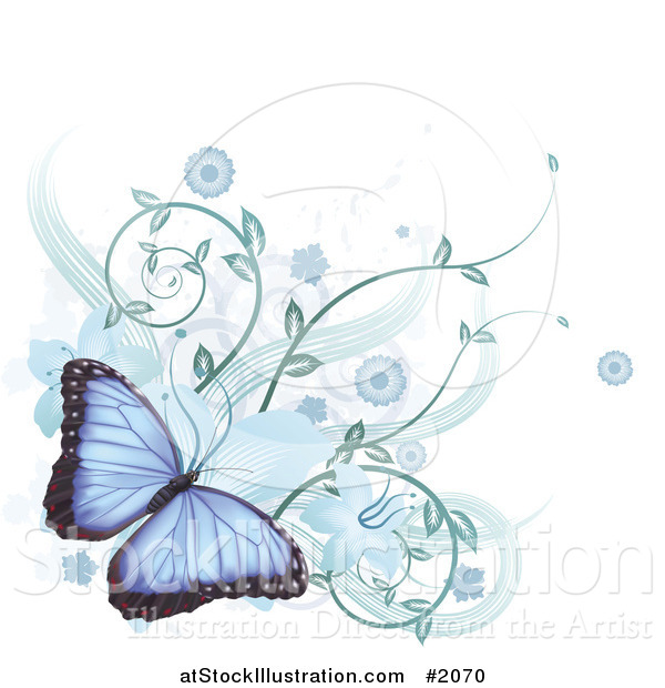 Vector Illustration of a Blue Morpho Peleides Butterfly with Hibiscus Flowers and Vines