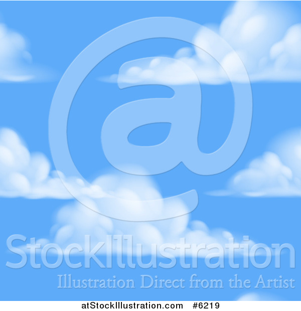 Vector Illustration of a Blue Sky and Puffy Cloud Seamless Background Pattern