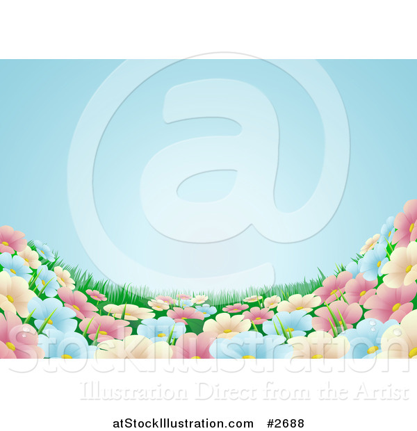 Vector Illustration of a Blue Sky over a Spring Flower Meadow Background