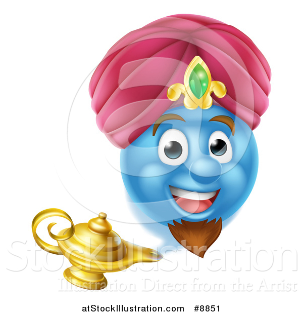 Vector Illustration of a Blue Smiley Emoji Emoticon Genie Emerging from a Lamp