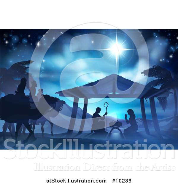 Vector Illustration of a Blue Toned Nativity Scene the Magi Wise Men, Star of David, Baby Jesus, Mary and Joseph