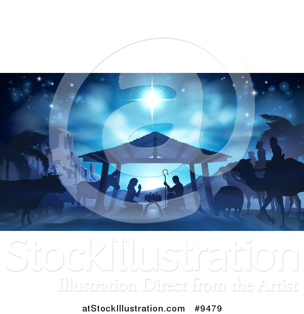 Vector Illustration of a Blue Toned Nativity Scene with Animals, Wise Men, the City of Bethlehem and Star of David