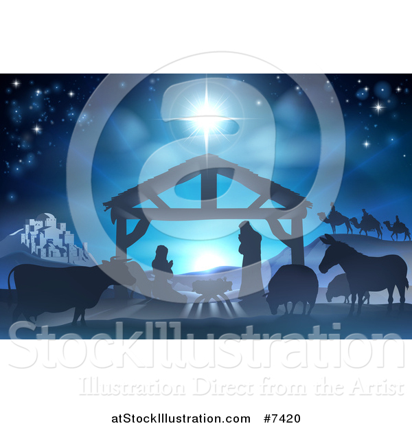 Vector Illustration of a Blue Toned Nativity Scene with the Animals and Wise Men in the Distance and the City of Bethlehem