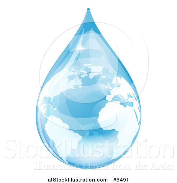 Vector Illustration of a Blue Water Drop Earth with Reflections
