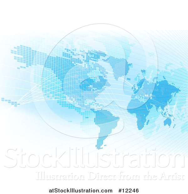 Vector Illustration of a Blue World Map with Grid Lines