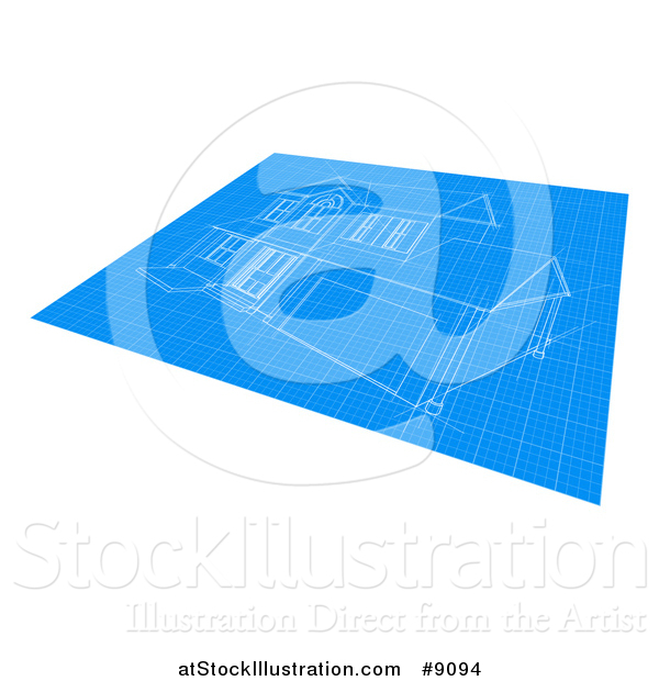Vector Illustration of a Blueprint with a Home Design