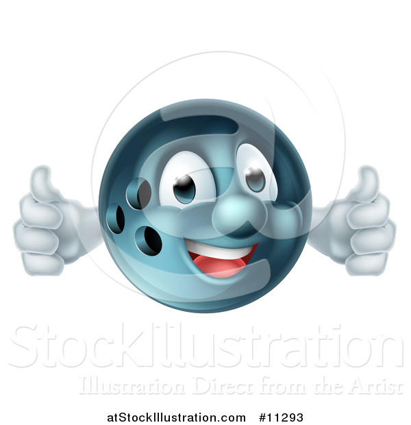 Vector Illustration of a Bowling Ball Mascot Giving Two Thumbs up