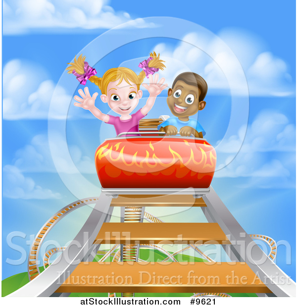 Vector Illustration of a Boy and Girl on a Roller Coaster Ride, Against a Blue Sky with Clouds