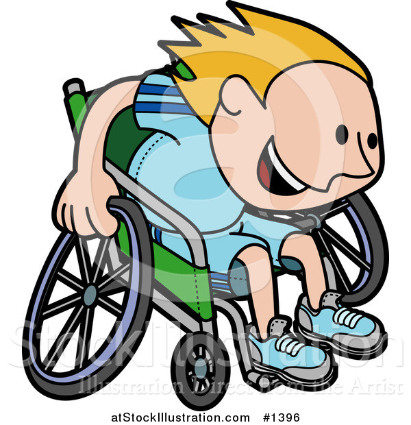 Vector Illustration of a Boy in a Wheelchair, Racing Downhill During a Marathon