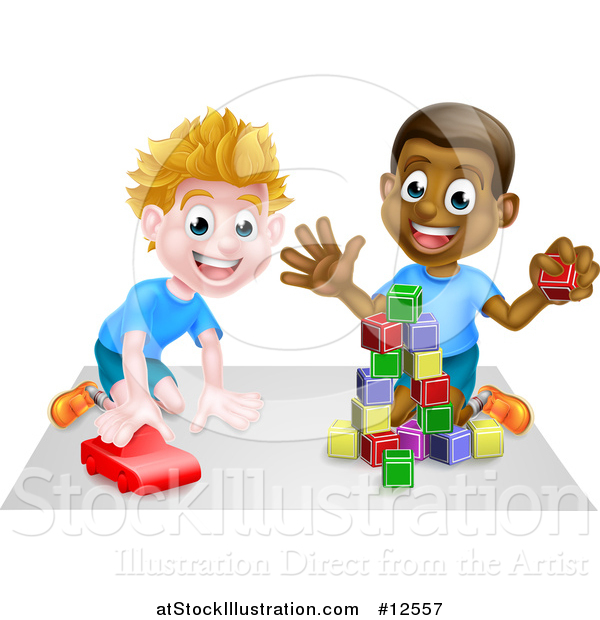 Vector Illustration of a Boys Playing with Blocks and a Toy Car